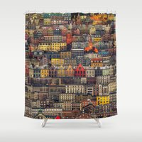 copenhagen Shower Curtains featuring Copenhagen Facades by Siddharth Dasari