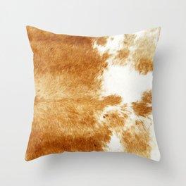 Golden Brown Cow Hide Throw Pillow
