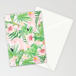 My pink Flamingo and Palm Leaves Aloha Tropical Jungle Garden Stationery Cards