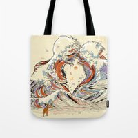 red Tote Bags featuring The Wave of Love by Huebucket