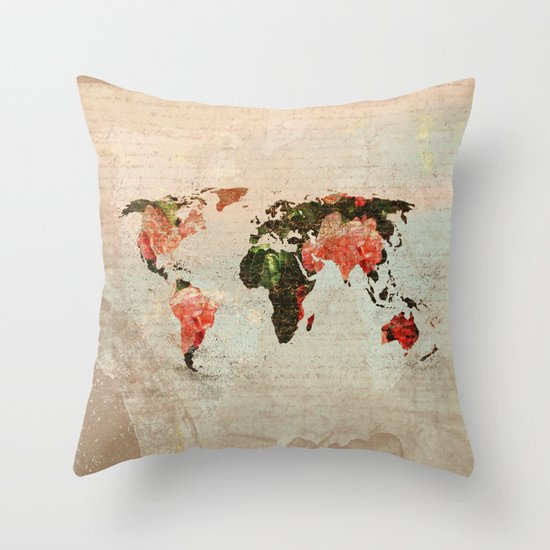 Vintage World Map Throw Pillow by MJ designs - Marosee Creations Society6