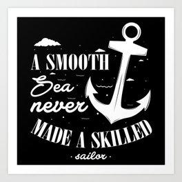 Calm Sea Skilled Sailor Art Print