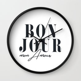 Bonjour Mon Amour, French Decor Wall Clock