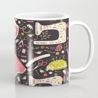 sewing Mugs featuring Vintage Sewing by Poppy & Red