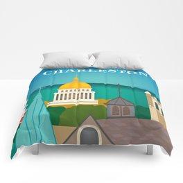 Charleston, West Virginia - Skyline Illustration by Loose Petals Comforters