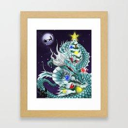 Christmas Santa Chinese Dragon ArtofFD Framed Art Print