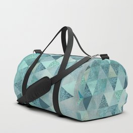 Glamorous Blue Glitter And Foil Triangles Duffle Bag