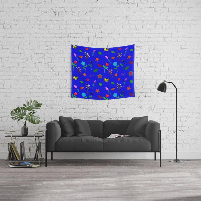Scattered Flowers and Butterflies, blue background Wall Tapestry