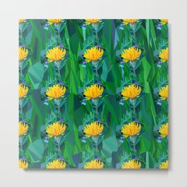 Yellow flower in the grass. Pattern Metal Print
