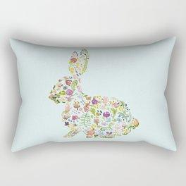 Spring Flowers Bunny on Blue Rectangular Pillow