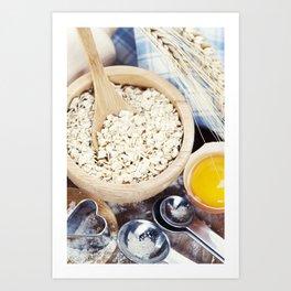 Fresh ingredients for oatmeal cookies Art Print