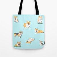 corgi Tote Bags featuring Corgi by okayleigh