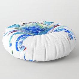 Blue Crab, crab restaurant seafood design art Floor Pillow