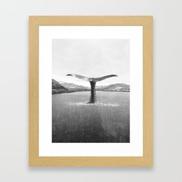 Whale In A French Lake in Black And White Framed Art Print