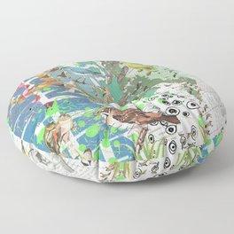 Bird Grid Paste Up 2 Floor Pillow