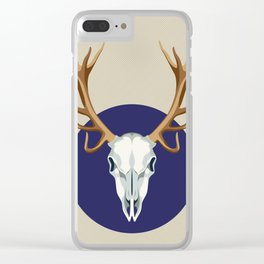 Chamanic blue deer skull Clear iPhone Case