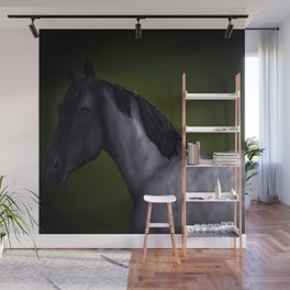 Blue Roan Dappled with Yellow/Green Background Wall Mural