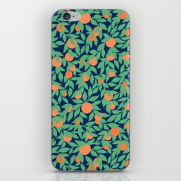 Oranges and Leaves Pattern - Navy Blue iPhone Skin