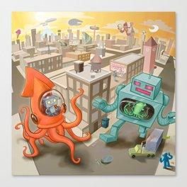 Squid vs Robot Canvas Print