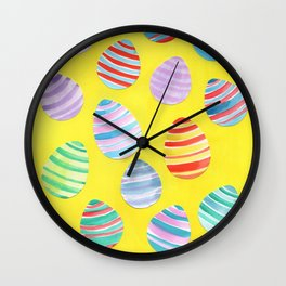 Easter Egg Watercolor Pattern -  Yellow Wall Clock