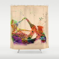 saxophone Shower Curtains featuring music saxophone by mark ashkenazi