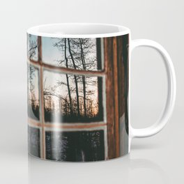 Lumberjack Cabin Window // Grainy Reflection of the Sunset and Trees Coffee Mug