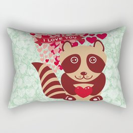 funny raccoon with red heart. I love you Rectangular Pillow