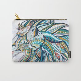Zentangle head of the lion on the grunge background Carry-All Pouch
