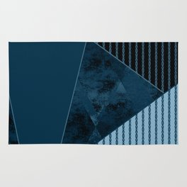 Valencia 3. Abstract, black, blue geometric pattern. Rug