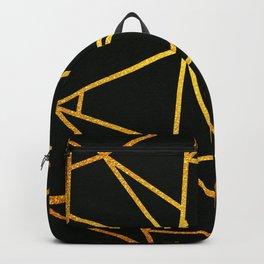 Gold Lines On Black Backpack