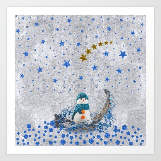 Snowman with sparkly blue stars Art Print