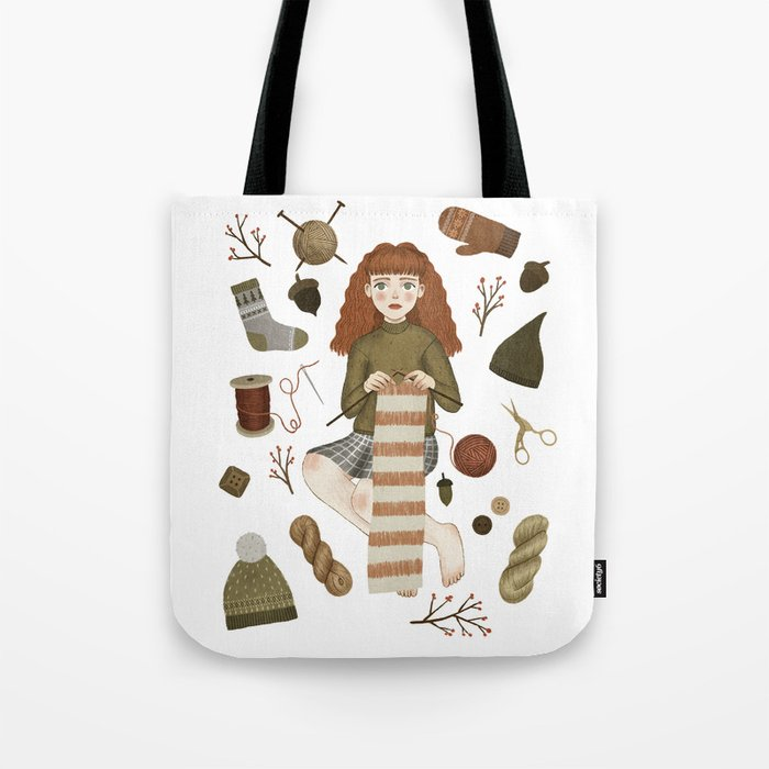 Forest Knitting Tote Bag