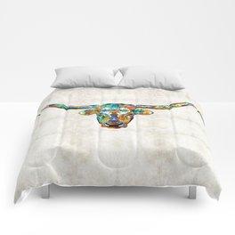 Colorful Longhorn Art By Sharon Cummings Comforters