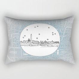 Washington D.C., City Skyline Illustration Drawing Rectangular Pillow