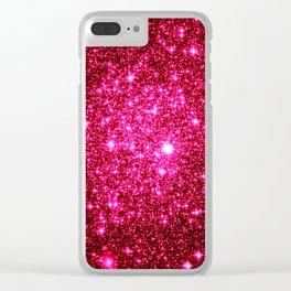 Hot Pink Glitter Galaxy Stars Clear iPhone Case