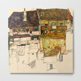 "Egon Schiele ""Old Houses in Krumau"" Metal Print"