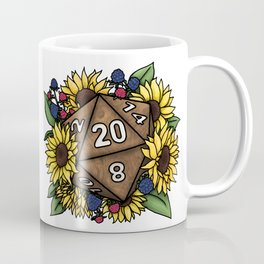Sunflower D20 Tabletop RPG Gaming Dice Coffee Mug
