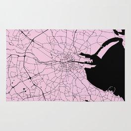 Dublin Ireland Pink on Black Street Map Rug