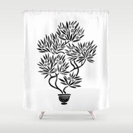Bonsai Fruit Tree – Black Palette Shower Curtain