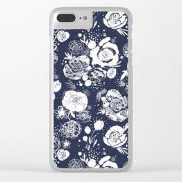 Summer Garden Indigo Floral Pattern Clear iPhone Case