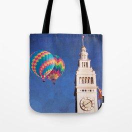 Embarcadero Clock Tower and Hot air Balloons Tote Bag