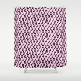 Fishing Net Black on Blush Shower Curtain