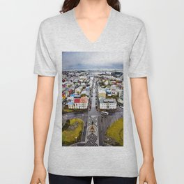 Looking Down on the Colored Buildings Down to the Sea in Reykjavik Unisex V-Neck
