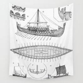 Vintage Viking Naval Ship History and Diagram Wall Tapestry