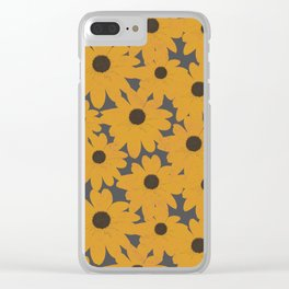 Black Eyed Susan Yellow Floral Retro Print Clear iPhone Case