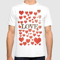 Love Heart Valentines Design  Mens Fitted Tee MEDIUM White