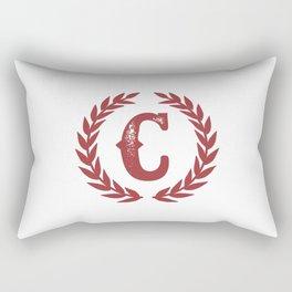 Rustic Red Monogram: Letter C Rectangular Pillow