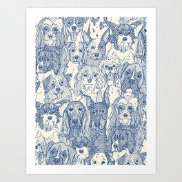 dogs aplenty classic blue pearl Art Print