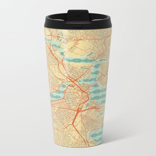 Boston Map Retro Metal Travel Mug