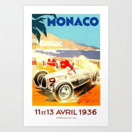 Monaco Grand Prix 1936 Art Print